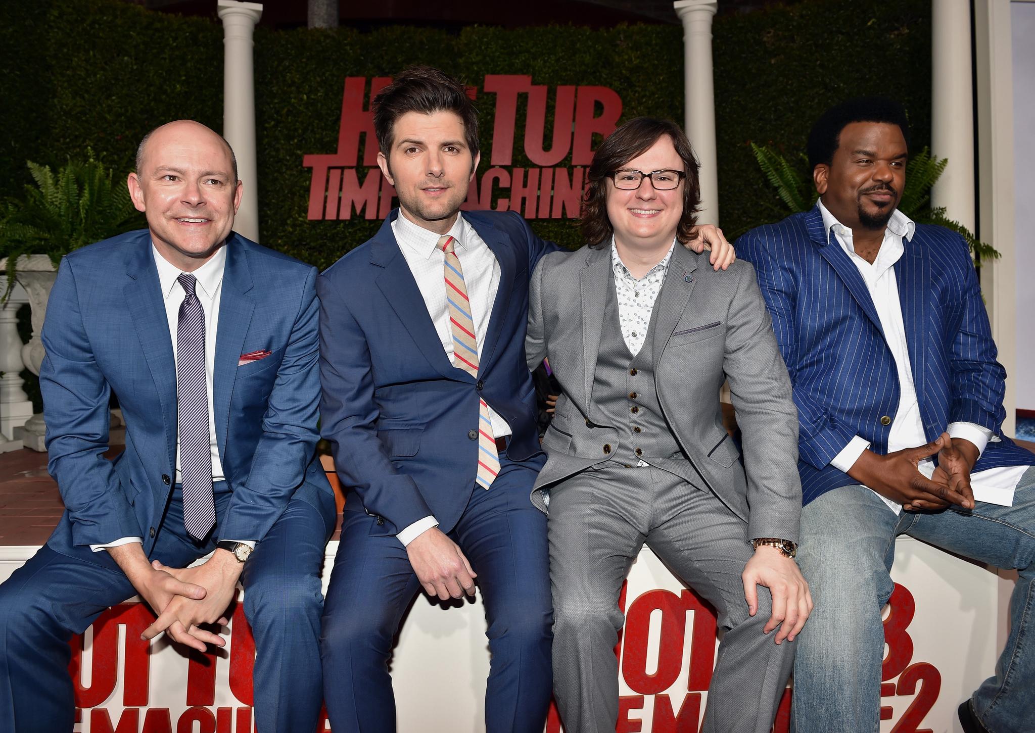 Adam Scott, Clark Duke, Craig Robinson, and Rob Corddry at an event for Hot Tub Time Machine 2 (2015)