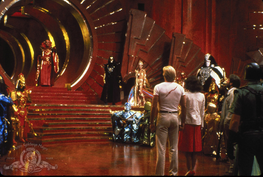 Melody Anderson, Ornella Muti, Max von Sydow, Sam J. Jones, Topol, and Peter Wyngarde in Flash Gordon (1980)
