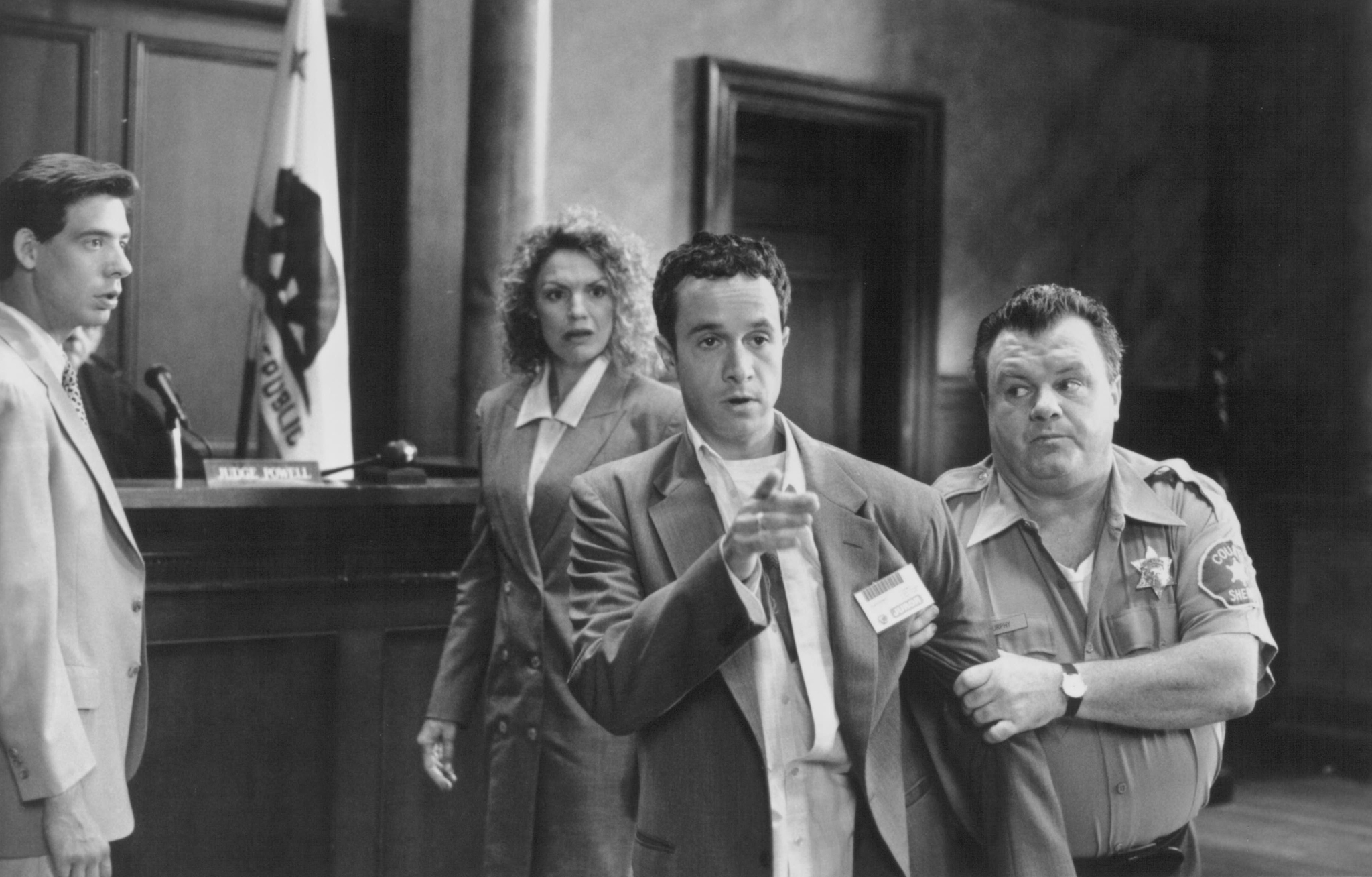 Pauly Shore, Sharon Barr, Gregory Cooke, and Jack McGee in Jury Duty (1995)