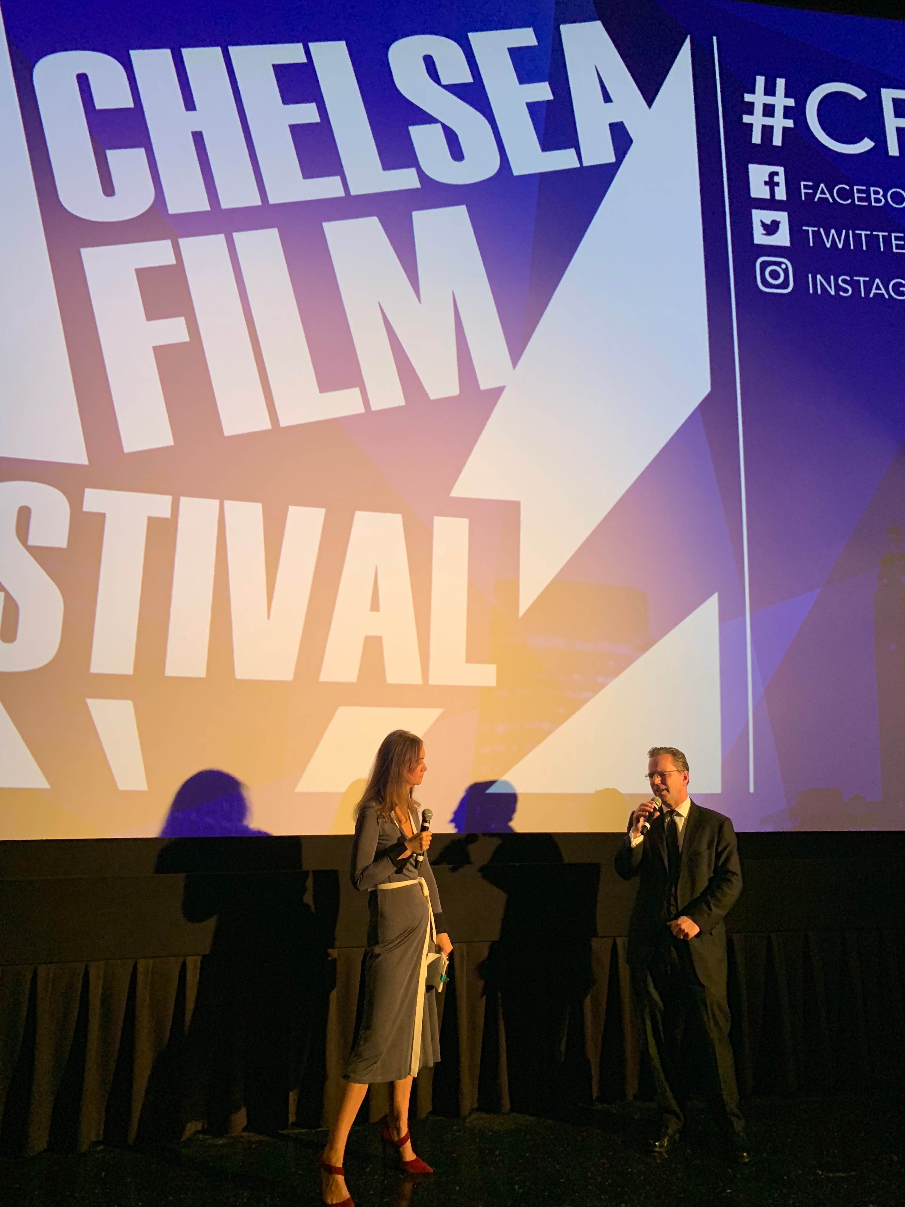 Director Brock Mullins and moderator Joanna Pickering at the Q&A following the screening of the feature film Return to Seattle at the 2018 Chelsea Film Festival in New York City in October.