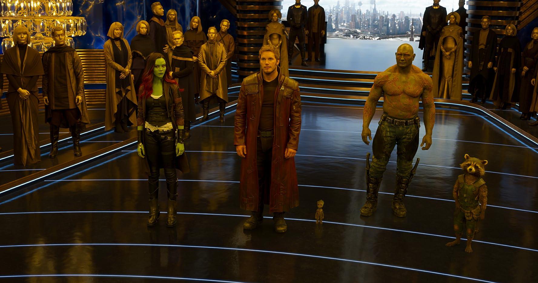 Vin Diesel, Bradley Cooper, Chris Pratt, Zoe Saldana, and Dave Bautista in Guardians of the Galaxy Vol. 2 (2017)