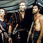 Charlton Heston, Yvonne De Carlo, and John Derek in The Ten Commandments (1956)