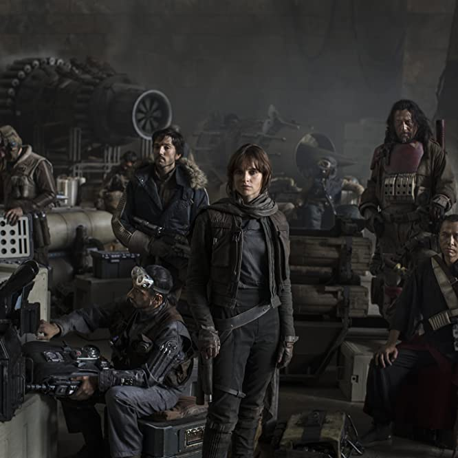 Wen Jiang, Felicity Jones, Diego Luna, Donnie Yen, and Riz Ahmed in Rogue One: A Star Wars Story (2016)