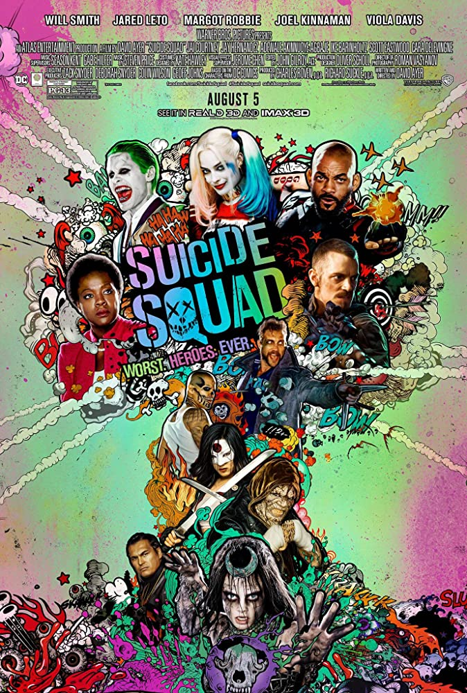 Will Smith, Jared Leto, Adewale Akinnuoye-Agbaje, Adam Beach, Viola Davis, Jay Hernandez, Joel Kinnaman, Jai Courtney, Margot Robbie, Cara Delevingne, and Karen Fukuhara in Suicide Squad (2016)