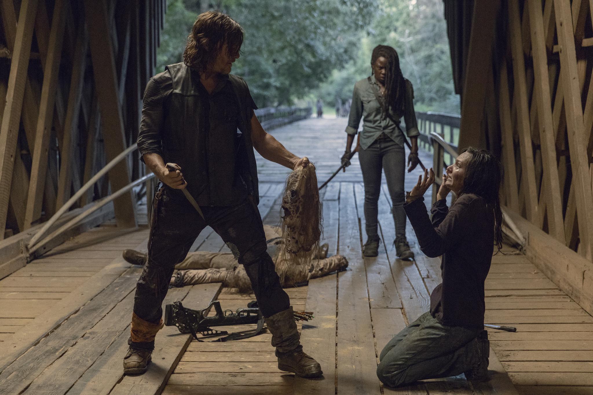 Norman Reedus, Danai Gurira, David L. Marston, and Cassady McClincy in The Walking Dead (2010)