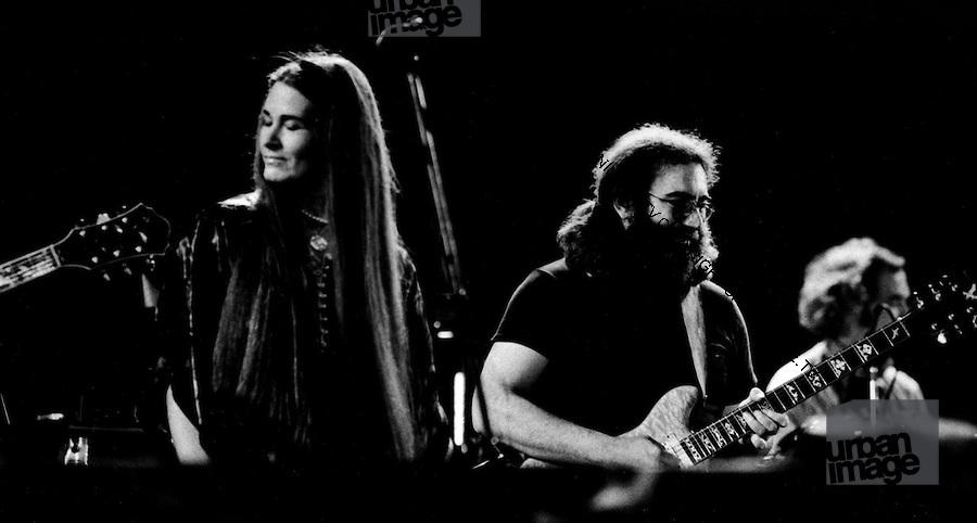 The Grateful Dead performing in Egypt 1978.  Left to Right: Donna Jean Godchaux, Jerry Garcia, Bill Kreutzmann