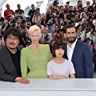 Bong Joon Ho, Jake Gyllenhaal, Tilda Swinton, and Seo-hyun Ahn at an event for Okja (2017)
