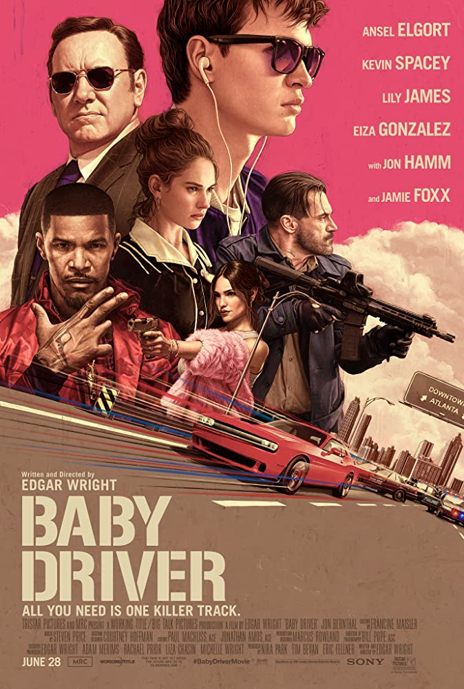 Kevin Spacey, Jamie Foxx, Jon Hamm, Eiza González, Lily James, and Ansel Elgort in Baby Driver (2017)