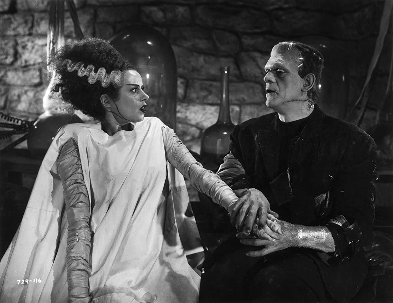 Boris Karloff and Elsa Lanchester in Bride of Frankenstein 1935