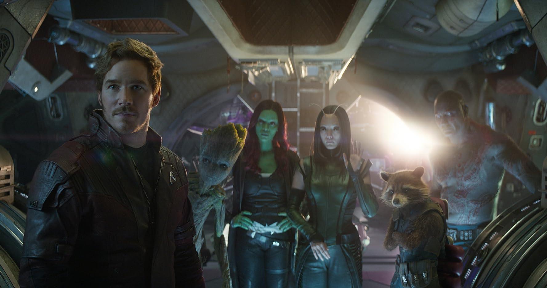 Vin Diesel, Bradley Cooper, Chris Pratt, Zoe Saldana, Dave Bautista, and Pom Klementieff in Avengers: Infinity War (2018)
