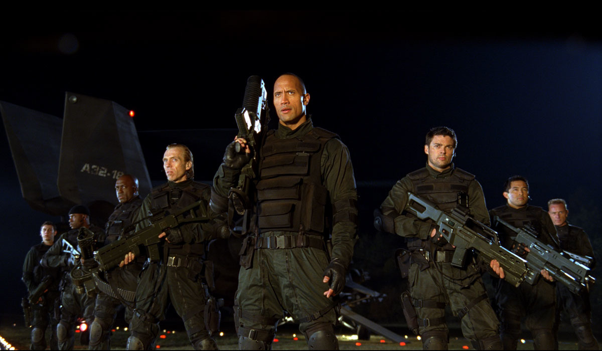 Razaaq Adoti, Richard Brake, Ben Daniels, Dwayne Johnson, Deobia Oparei, Karl Urban, Yao Chin, and Al Weaver in Doom (2005)