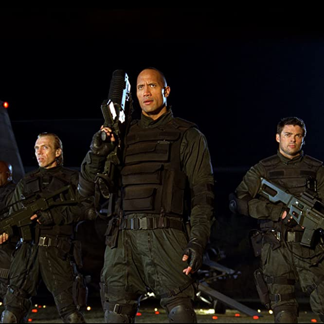 Razaaq Adoti, Richard Brake, Ben Daniels, Dwayne Johnson, Deobia Oparei, Karl Urban, Yao Chin, and Al Weaver in Doom (2005)