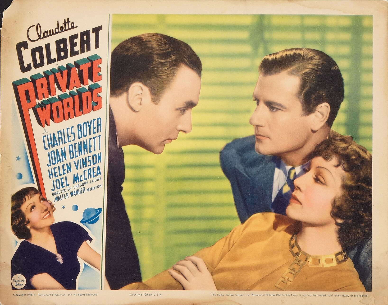 Charles Boyer, Claudette Colbert, and Joel McCrea in Private Worlds (1935)