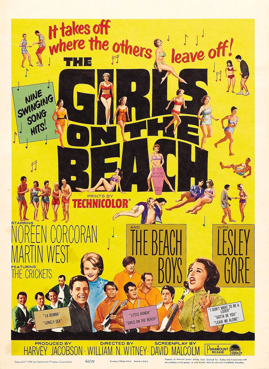 Noreen Corcoran, Lesley Gore, Martin West, The Beach Boys, and The Crickets in The Girls on the Beach (1965)