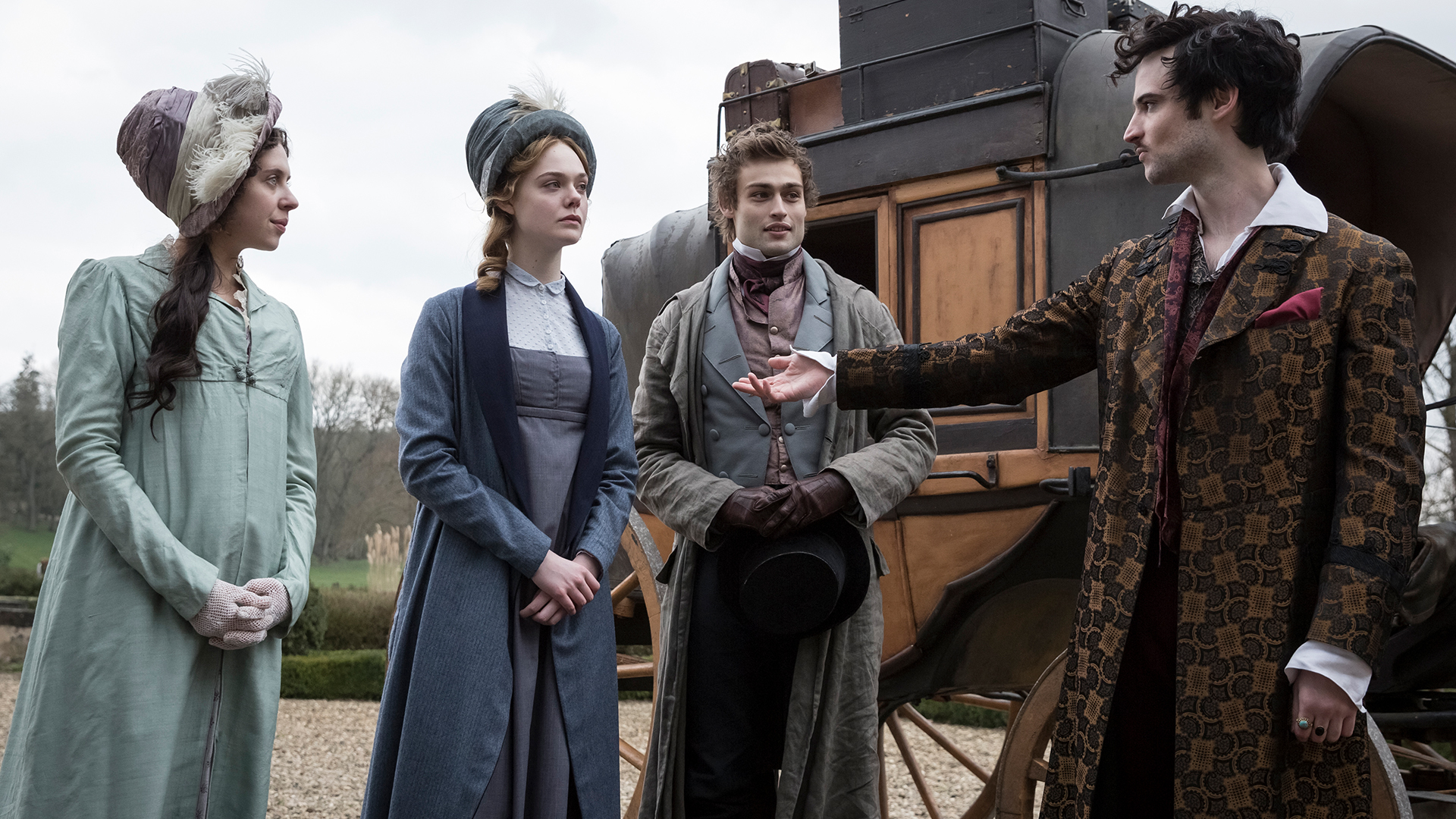 Tom Sturridge, Elle Fanning, Bel Powley, and Douglas Booth in Mary Shelley (2017)