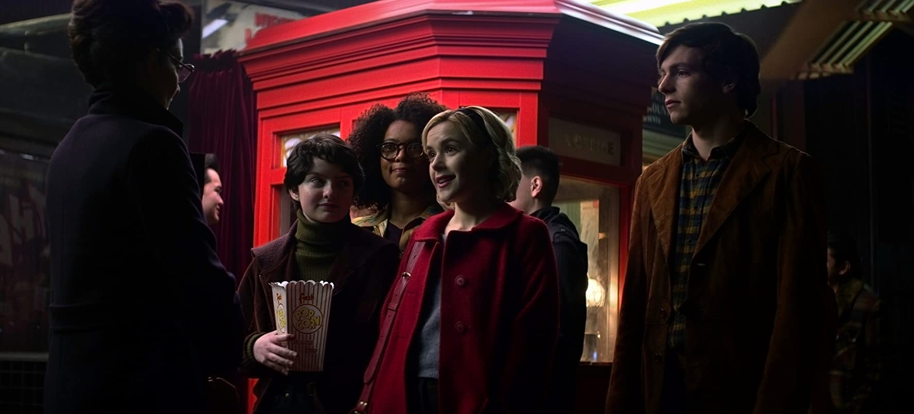 Michelle Gomez, Kiernan Shipka, Ross Lynch, Jaz Sinclair, and Lachlan Watson in Chilling Adventures of Sabrina (2018)