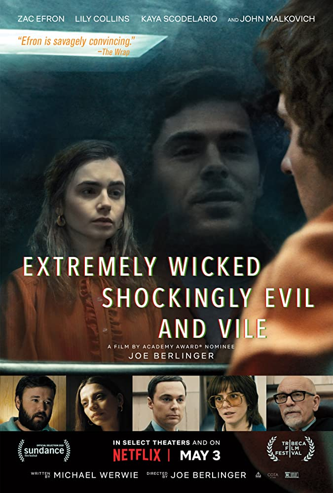 John Malkovich, Haley Joel Osment, Joe Berlinger, Zac Efron, Jim Parsons, Angela Sarafyan, Kaya Scodelario, and Lily Collins in Extremely Wicked, Shockingly Evil and Vile (2019)