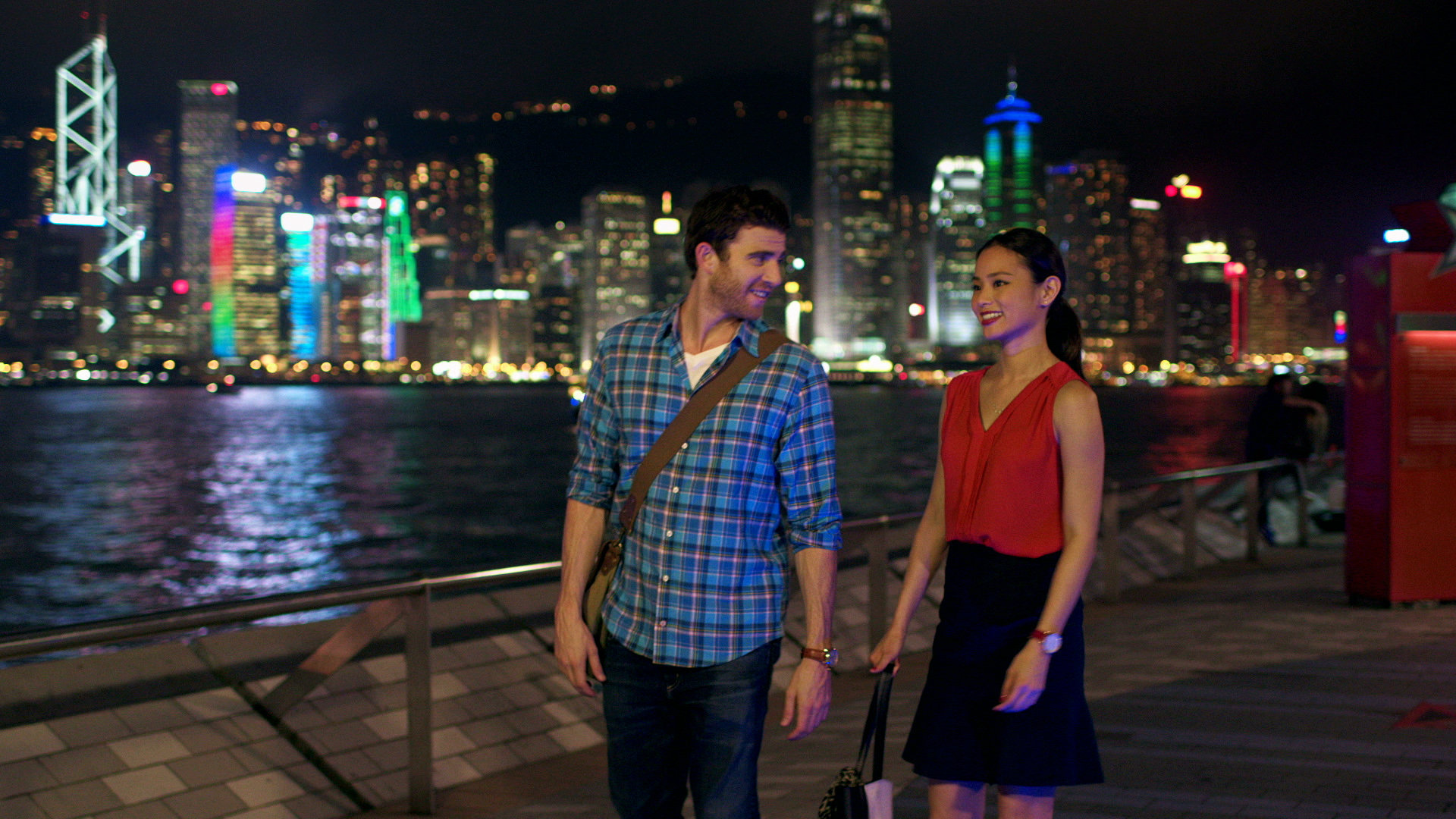 "Bryan Greenberg and Jamie Chung in a still from ""It's Already Tomorrow in Hong Kong"""