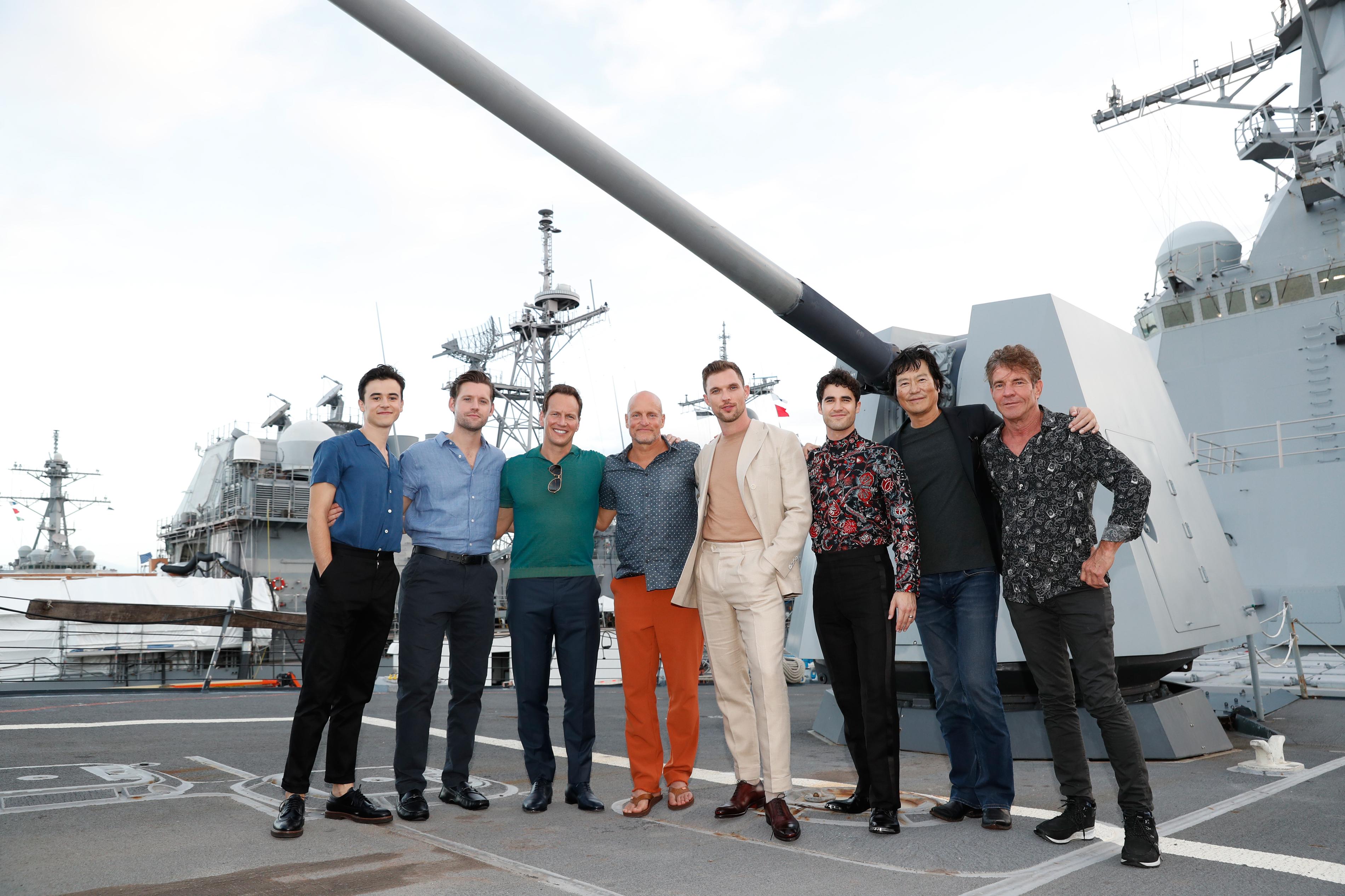 Woody Harrelson, Dennis Quaid, Etsushi Toyokawa, Patrick Wilson, Darren Criss, Luke Kleintank, Ed Skrein, and Keean Johnson at an event for Midway (2019)