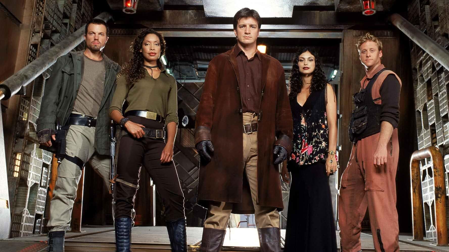 Adam Baldwin, Nathan Fillion, Gina Torres, Alan Tudyk, and Morena Baccarin in Serenity (2005)
