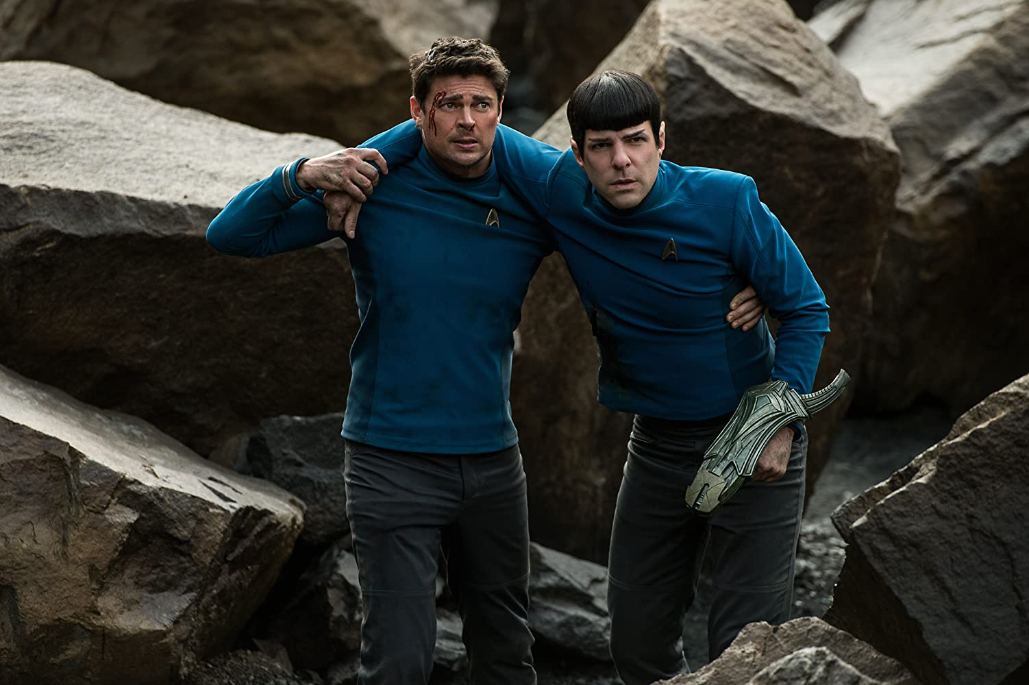 Zachary Quinto and Karl Urban in Star Trek: Beyond (2016)