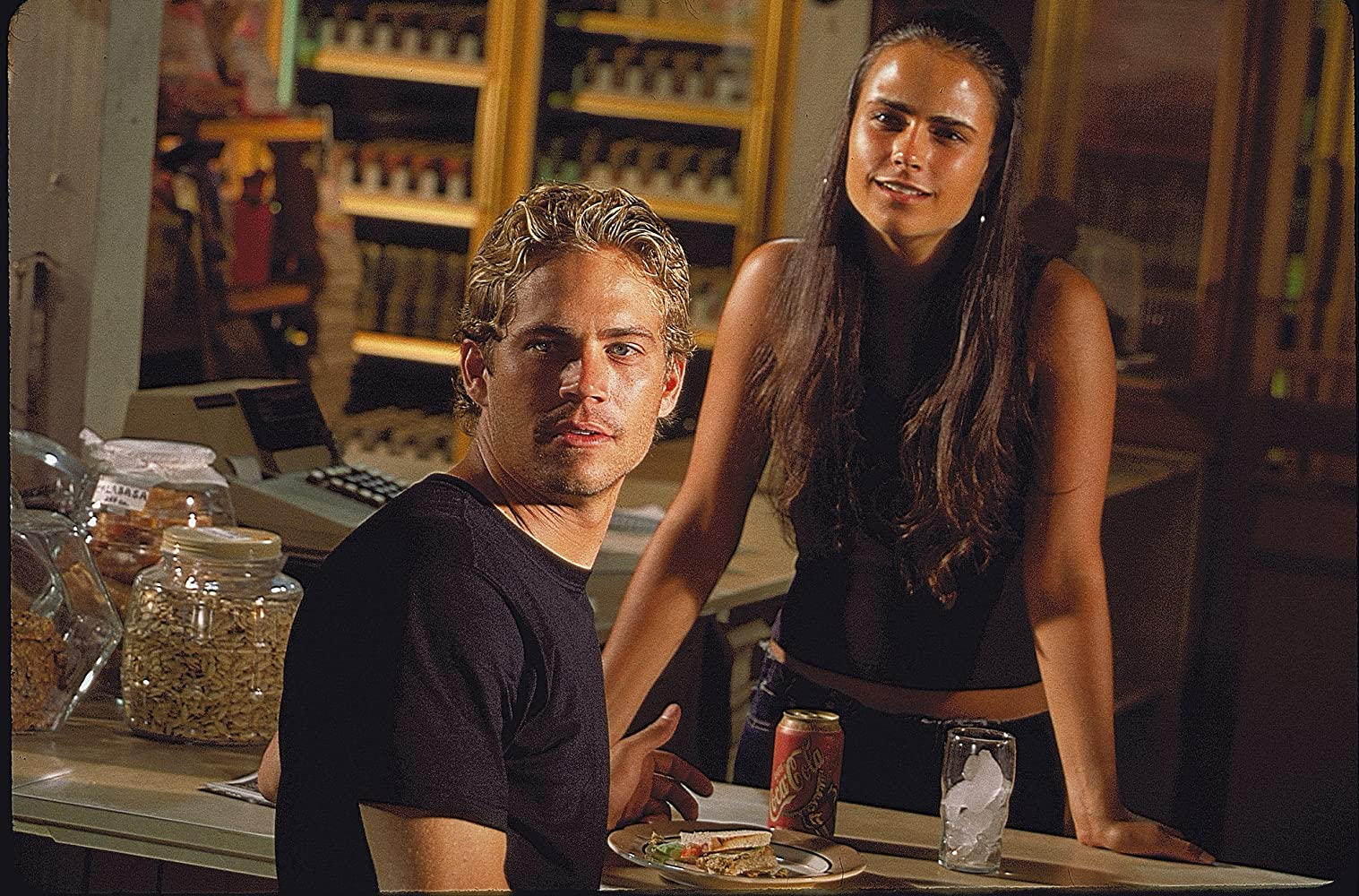 Jordana Brewster and Paul Walker in The Fast and the Furious (2001)