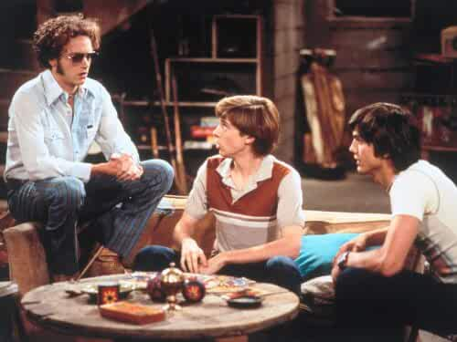 Ashton Kutcher, Danny Masterson, and Topher Grace in That '70s Show (1998)