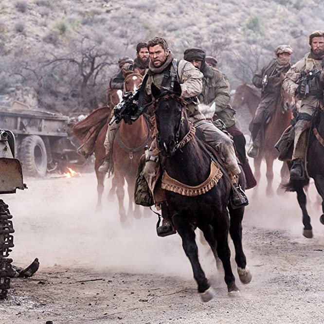 Thad Luckinbill, Navid Negahban, and Chris Hemsworth in 12 Strong (2018)