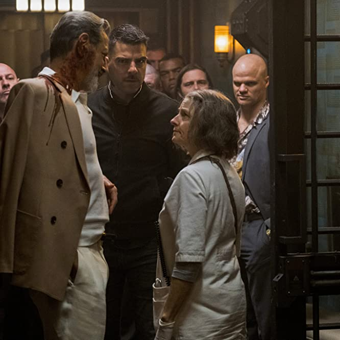 Jodie Foster, Jeff Goldblum, Evan Jones, and Zachary Quinto in Hotel Artemis (2018)