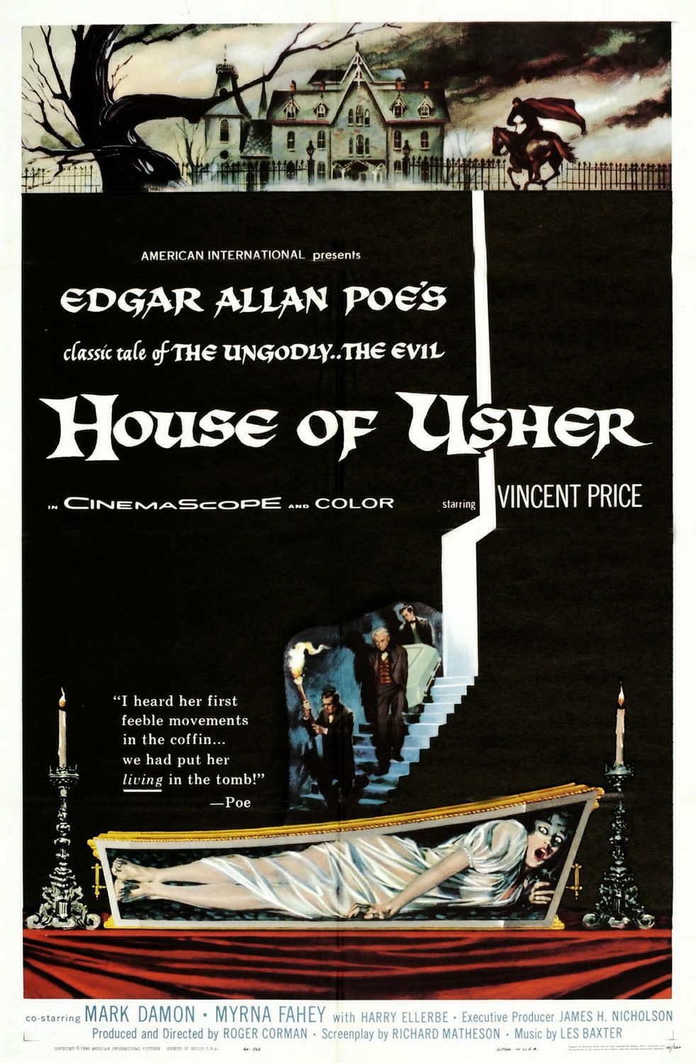 Image result for the fall of the house of usher movie poster