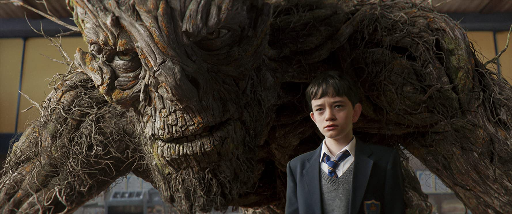 Liam Neeson and Lewis MacDougall in A Monster Calls (2016)