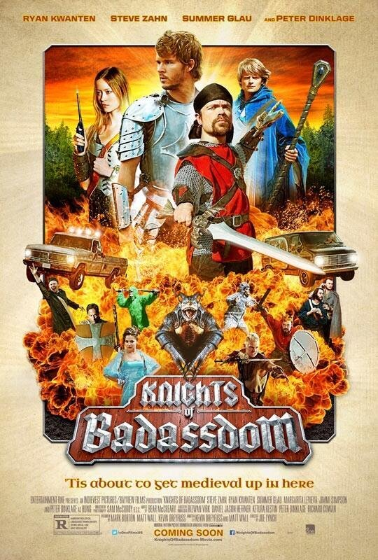 Summer Glau, Ryan Kwanten, Peter Dinklage and Steve Zahn get top billing on the Knights of Badassdom poster.