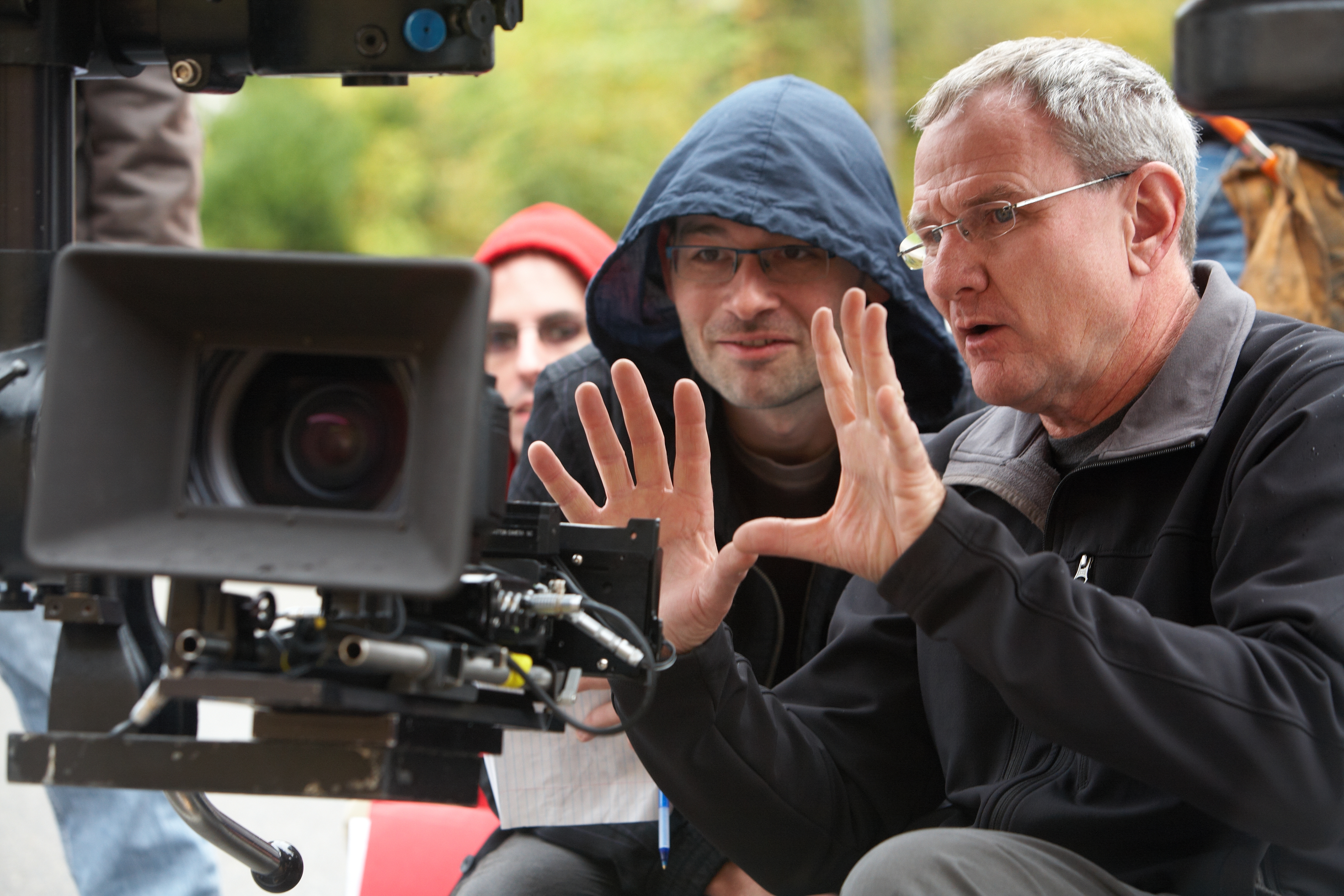 Director Marty Shea and Lon Stratton on the set of The Owner.