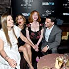 Marianna Palka, Alysia Reiner, Christina Hendricks and David Alan Basche attend the 2018 Tribeca Film Festival afterparty for 'Egg' hosted by the IMDbPro App at TAO Downtown on April 21, 2018 in New York City.