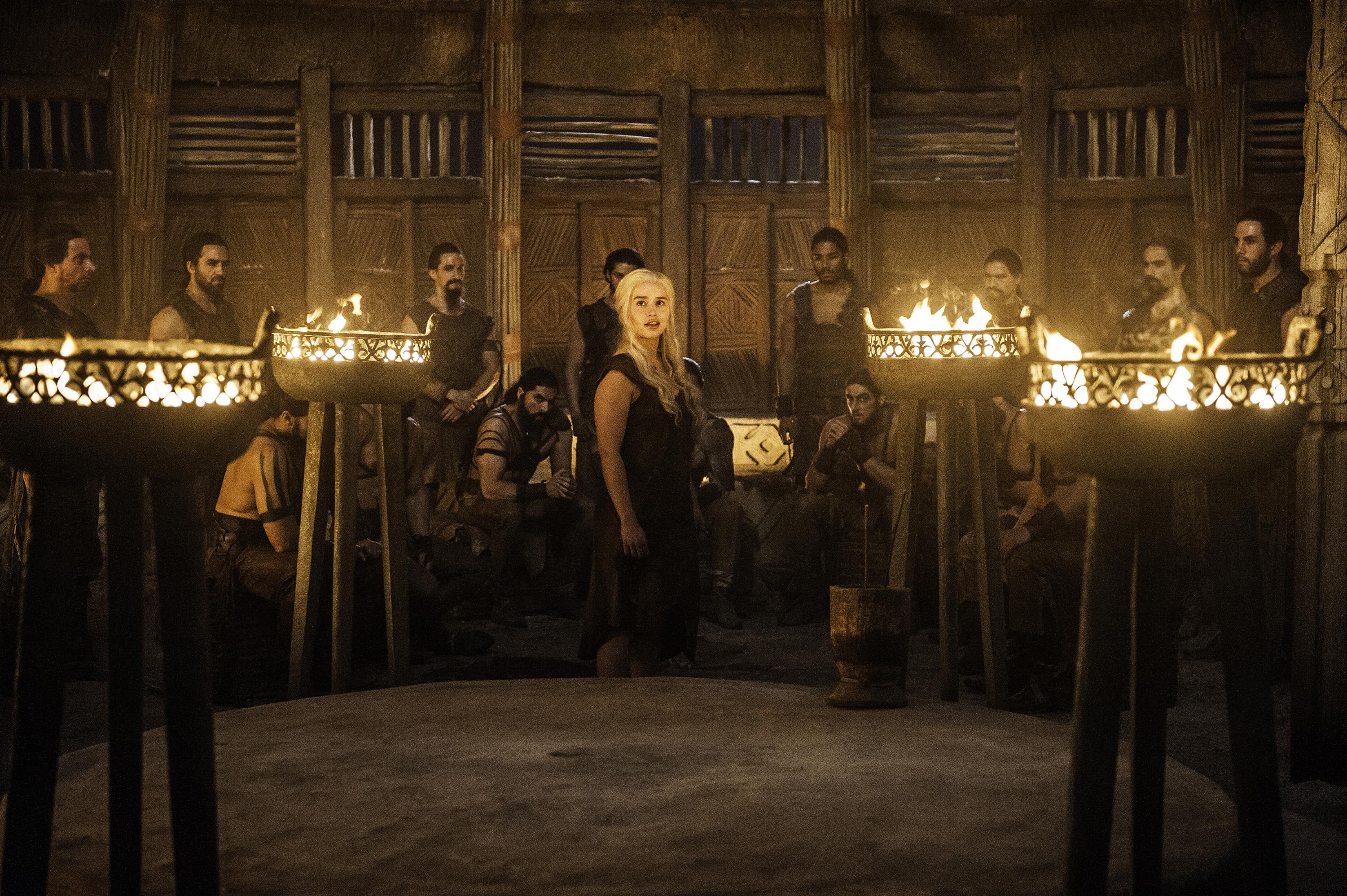 Joseph Naufahu, Tamer Hassan, Emilia Clarke, Elie Haddad, Darius Dar Khan, and Diogo Sales in Game of Thrones (2011)