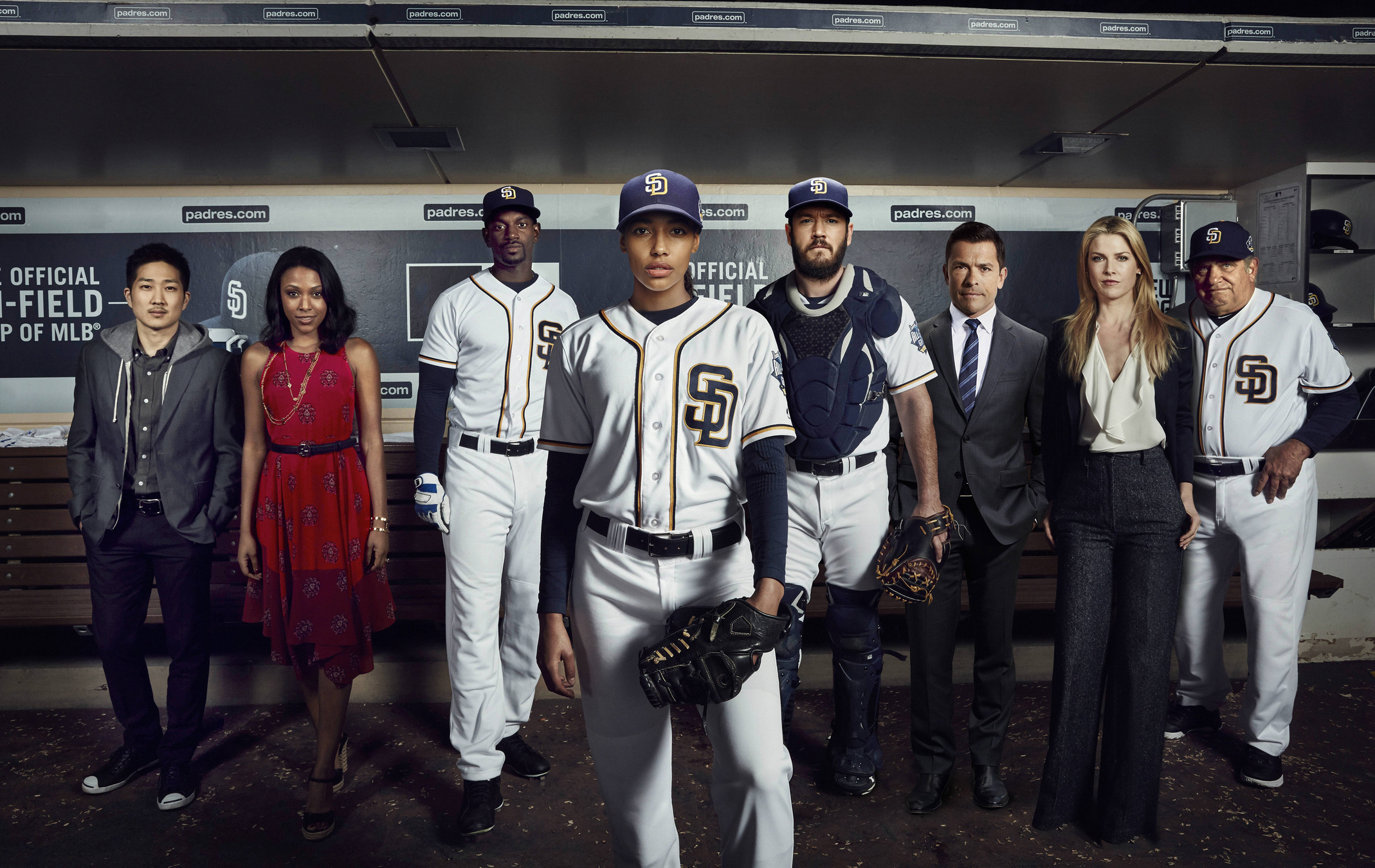 Mark-Paul Gosselaar, Ali Larter, Mark Consuelos, Dan Lauria, Mo McRae, Tim Jo, Meagan Holder, and Kylie Bunbury in Pitch (2016)