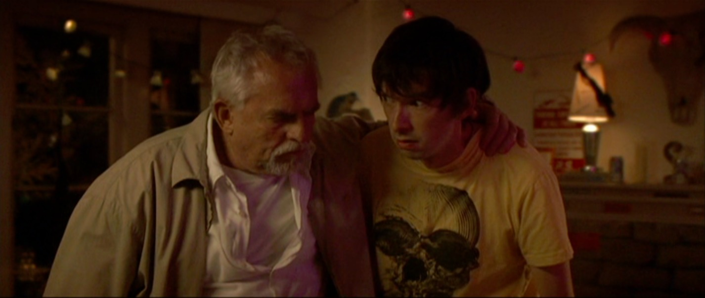 Todd Aaron Brotze as Sprow in The Village Barbershop, with John Ratzenberger