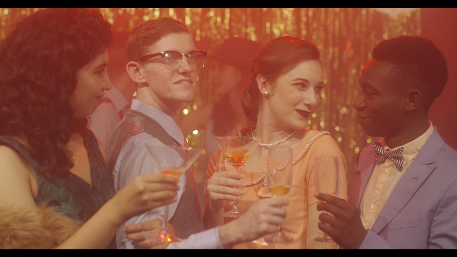 Olly Sholotan, Emily Beltran, Nicolette Norgaard, and Michael Riskin in Partying with Communists (2018)