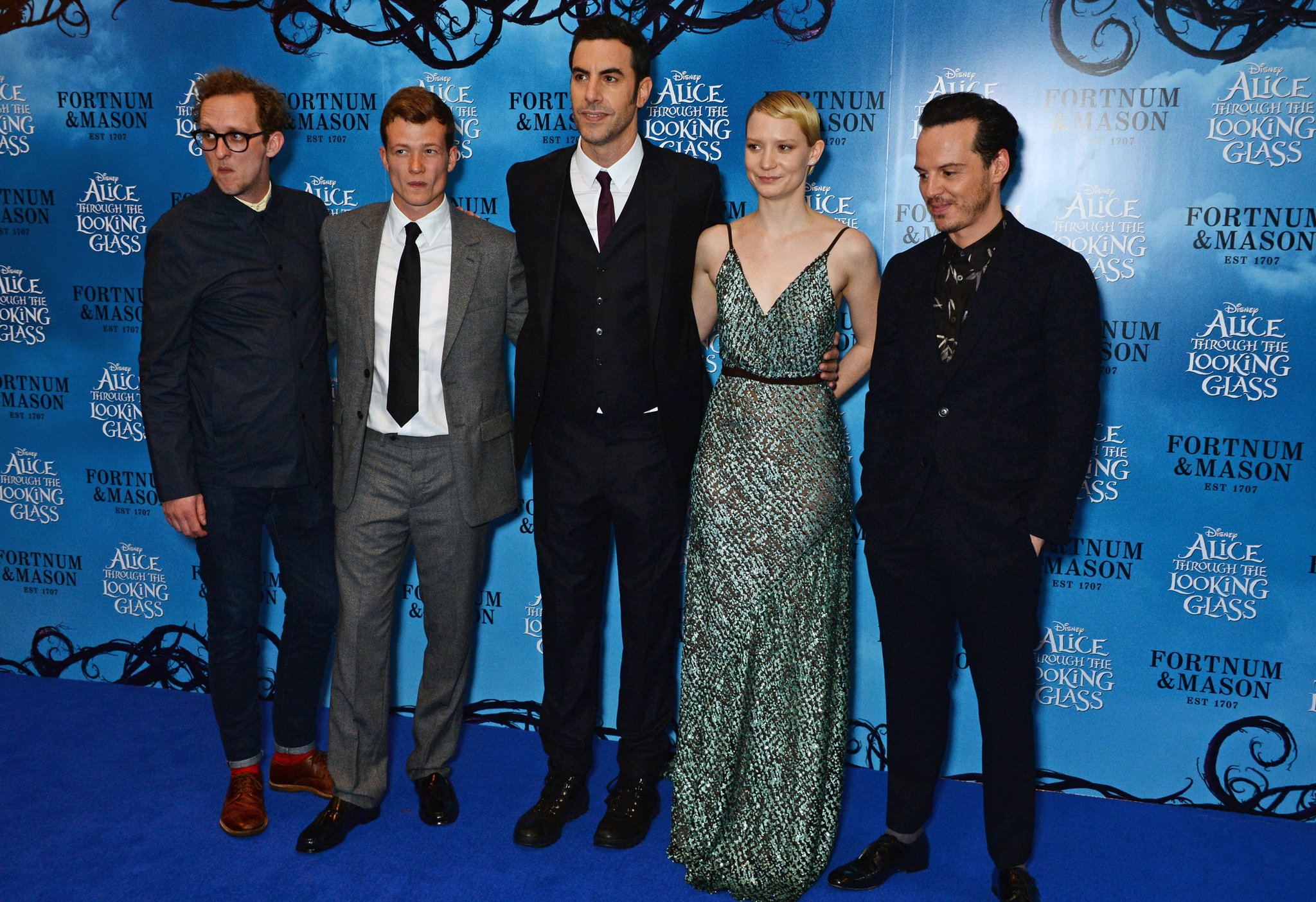 Sacha Baron Cohen, Andrew Scott, Leo Bill, Ed Speleers, and Mia Wasikowska at an event for Alice Through the Looking Glass (2016)