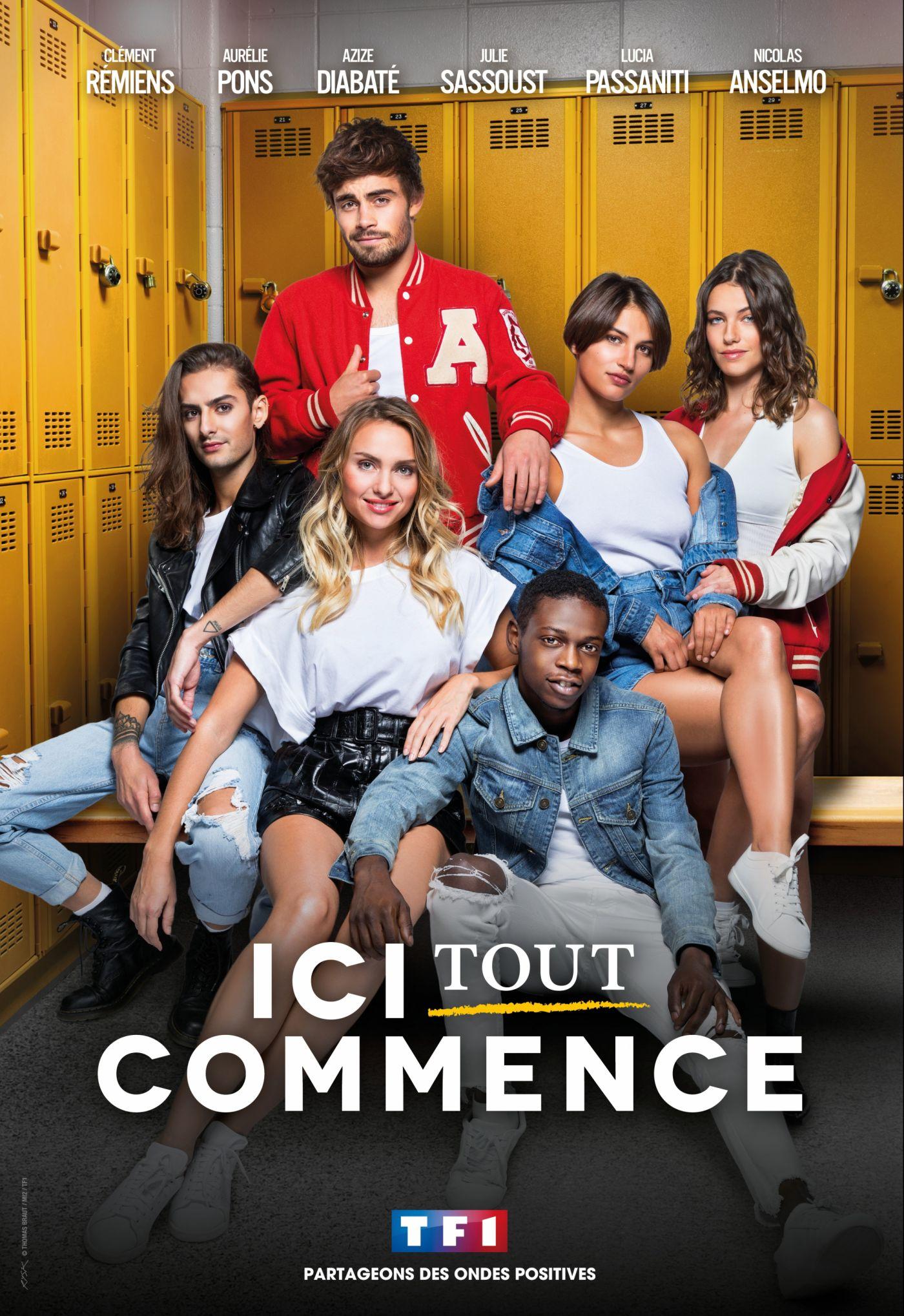 Julie Sassoust, Aurélie Pons, Nicolas Anselmo, Azize Diabaté Abdoulaye, Lucia Passaniti, and Clément Rémiens in Ici Tout Commence (2020)