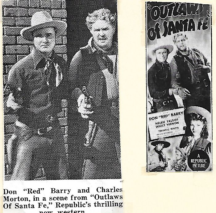 Don 'Red' Barry, Charles Morton, Helen Talbot, Wally Vernon, and Twinkle Watts in Outlaws of Santa Fe (1944)