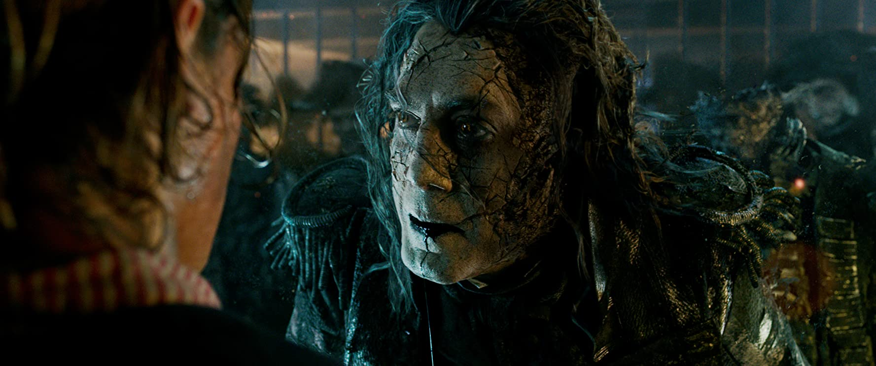 Javier Bardem and Brenton Thwaites in Pirates of the Caribbean: Dead Men Tell No Tales (2017)