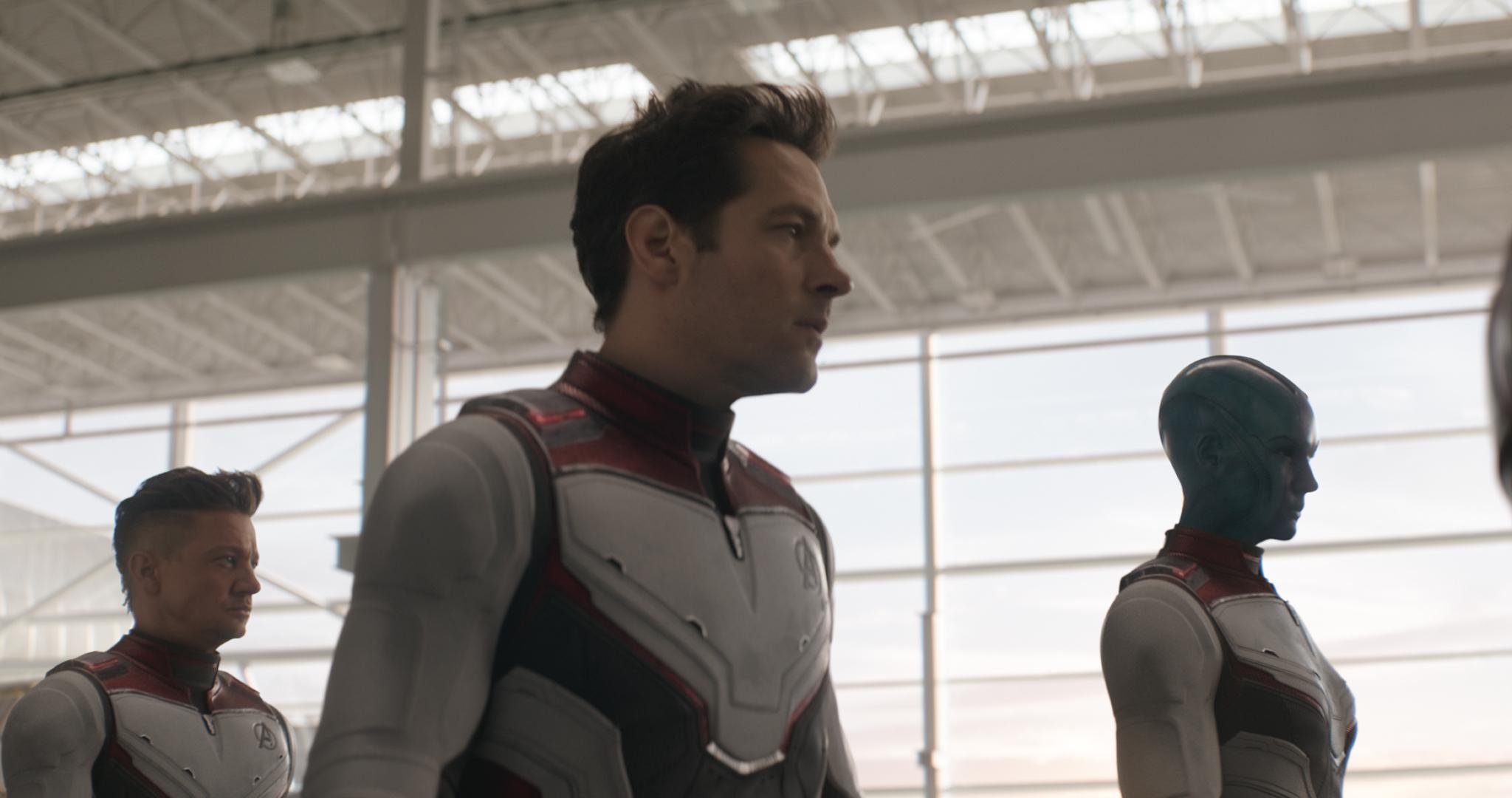 Jeremy Renner, Paul Rudd, and Karen Gillan in Avengers: Endgame (2019)