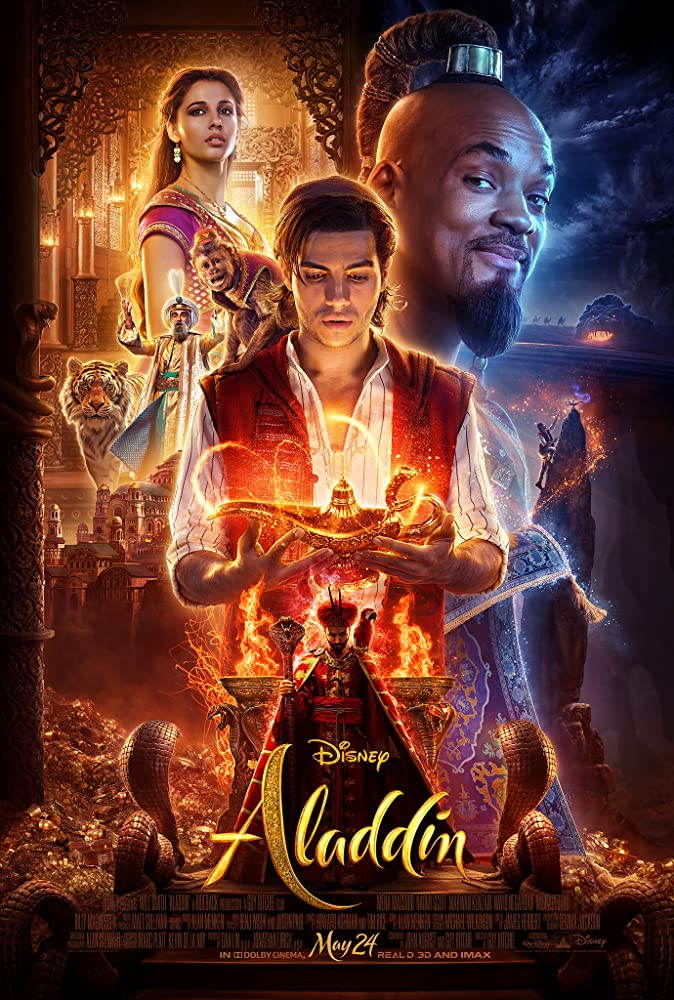 Will Smith, Alan Tudyk, Navid Negahban, Marwan Kenzari, Naomi Scott, and Mena Massoud in Aladdin (2019)