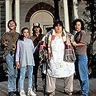 Johnny Depp, Leonardo DiCaprio, Darlene Cates, Laura Harrington, and Mary Kate Schellhardt in What's Eating Gilbert Grape (1993)