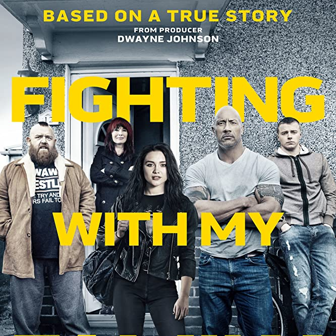 Nick Frost, Lena Headey, Dwayne Johnson, Jack Lowden, and Florence Pugh in Fighting with My Family (2019)