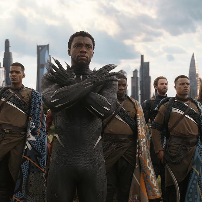 Chris Evans, Chadwick Boseman, Sebastian Stan, Jeremy Sample, Winston Duke, and Dawit Gulilat in Avengers: Infinity War (2018)