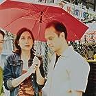 "Heather Juergensen (Helen) and Michael Mastro (Martin) on the set of ""Kissing Jessica Stein"""