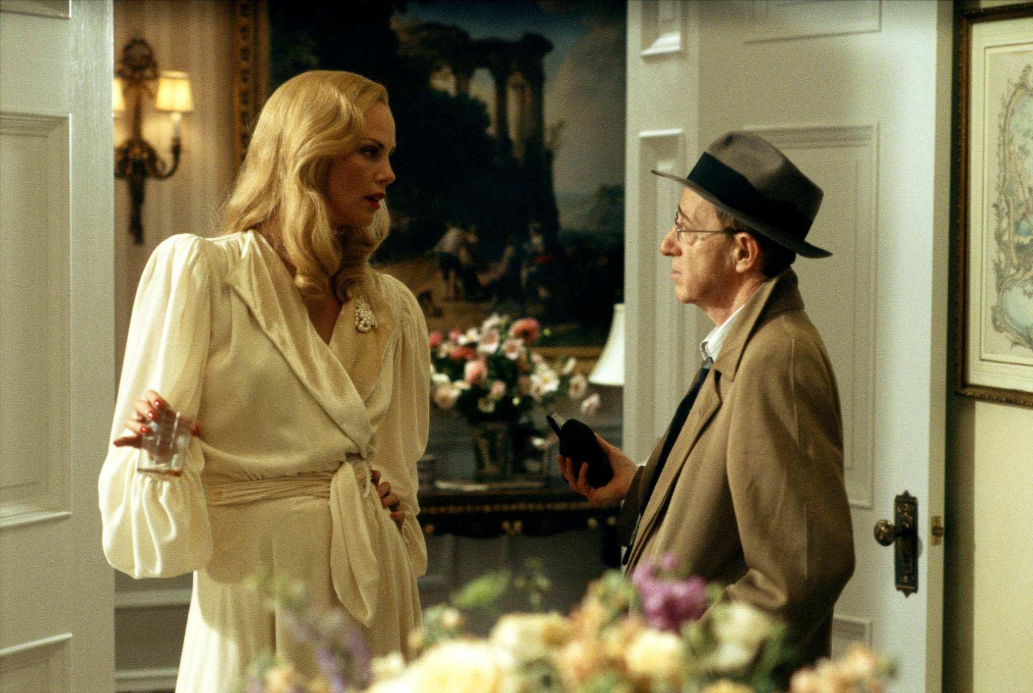 Woody Allen and Charlize Theron in The Curse of the Jade Scorpion (2001)