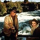 """Rooster Cogburn,"" Universal 1974. John Wayne and Katharine Hepburn."